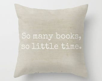 Book Lover Pillow, Library Pillow, Reading Pillow, Office Decor, Farmhouse Pillow, Throw Pillow, Square Pillow, Cottage Home, Beige Pillow