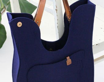 Navy Blue Wool Felt Handbag / Bird Felt Bag / Felt Shoulder Bag