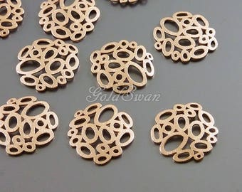 4 matte rose gold abstract multi-bubble charms, circle filigree pendants 1484-MRG-SM