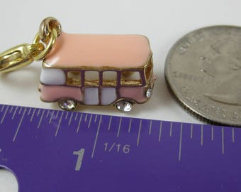 Purse or Planner charm enamel pink and white bus lobster clasp tibetan gold plated travelers notebook TN Midori Erin Condren