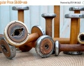 """SALE Today Vintage Bobbins 4"""" 5"""" & 6"""" Small Wooden Textile Mill Spools Cap Spinner Home, Studio Industrial Decor Organize w Wood Bobbin Stor"""