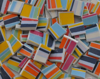 100 Broken China Mosaic Tile - Striped - Colorful - Recycled Plate -