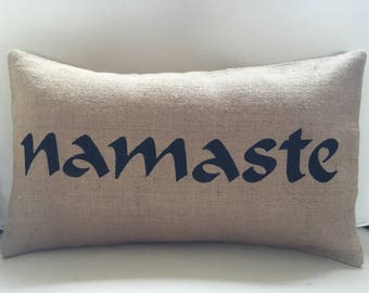 Namaste burlap pillow hessian cushion cover - black