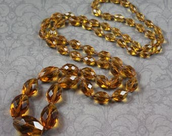 """Vintage Art Deco 1920s to 1930s 38"""" Long Faceted Graduated Citrine Glass Beaded Necklace"""