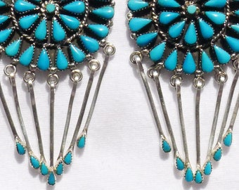 Large Southwest Sterling Silver Petit Point Turquoise Sunburst Dangle Earrings