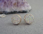 Custom Earrings with Titanium-Coated Drusy in 18k Gold and Sterling