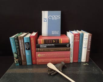 Red Blue Foot of Cook Books - Vintage Kitchen Decor - Book Stack - Gift Housewarming Bridal Wedding Kitchen Diva Chef