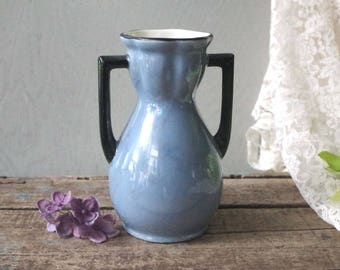 Antique Blue Luster Czech Vase - Lusterware Czecho Slovakia Porcelain Vase - Vintage Lustreware Vase 2-handled Blue