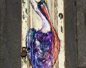 PURPLE PELICAN PAINTING Original Painting by Paige DeBell **on Architectural Salvage from New Orleans