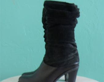 vintage black leather boots //  suede slouch boots ~ size 7 / 38