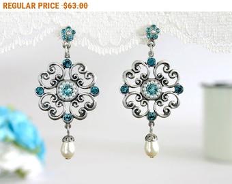 20% OFF - CIJ SALE Blue wedding earrings, Wedding earrings, Blue earrings, Blue wedding, Something blue wedding, Blue wedding jewelry, Blue