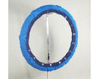 Easy Care Steering Wheel Cover (Cornflower and Navy) with Safety Rubber Backing, Machine Washable