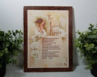 Vintage The Lord's Prayer Plaque, artwork of Jesus, Flowers, and Lettering by Alan Grant. Faux Bois trim. Rustic distressed & charming.