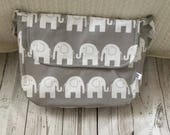 pram baby changing bag diapers nappies elephants grey white cotton  waterproof adjustable strap
