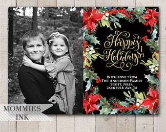 Happy Holidays Photo Card, Photo Holiday Card, Photo Christmas Card, Gold Foil Card, Poinsettia Card, Christmas Flower Card, Holiday Cards