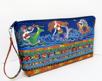 Zippered Project Bag, Mermaid Sea Spirits, Laurel Burch Mermaids Blue Zipper Pouch XL