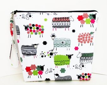 Sheep Tall Zippered Pouch, Wool Ewe, White, Lambs Sheep with Knitted Sweaters, Cosmetic Bag, Knitting Project Bag