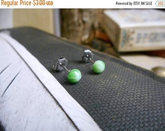 The Starlight post earrings. Melon Green Glass Starburst Dome Cabochon & Titanium Post Earrings. Opaque Studs