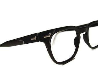 Vintage 50s Mens Black Artcraft Horn Rim Eyeglasses Frame