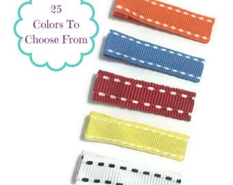 25 MINI STITCH Lined 35mm Single Prong Alligator Clips, No Slip Hair Clips, Mini Hair Clips, Fully Lined, Partially Lined, Ribbon Lined Clip