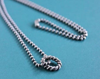 Men's Sterling Silver Ring Chain Necklace, Men's Rustic Silver Necklace, Oxidized Silver Chain Necklace