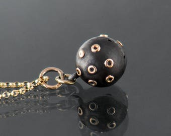 Antique Orb Pendant   Victorian Gunmetal with Gold Trim   Gothic Revival Charm   Black Gunmetal Black Ball Pendant - 20 Inch Chain Included