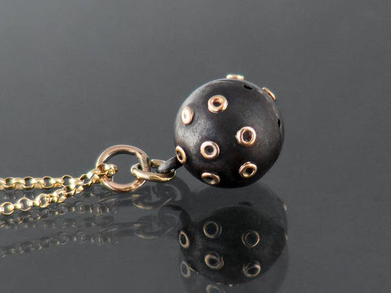 Antique Orb Pendant | Victorian Gunmetal with Gold Trim | Gothic Revival Charm | Black Gunmetal Black Ball Pendant - 20 Inch Chain Included
