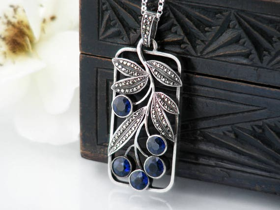 Vintage Pendant | 935 Austrian Silver & Sapphire Blue Crystals Pendant Necklace | Berries and Leaves, Sterling, Marcasite - 20 Inch Chain