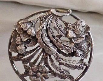 SALE Vintage Large Pewter Flower Brooch.  Big Round Floral Pewter Pin.
