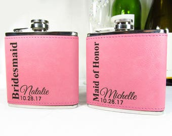 7 Bridesmaids Gift Ideas , Custom Bridal Party Gift Ideas, Bridesmaids Thanks You Gifts, Pink Leatherette Hip Flasks, Vertical