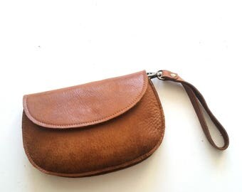 Brown leather purse - woman wallet