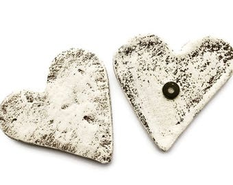 Rustic Heart Magnet / Large Magnets / Set of 3 / White Wash Heart / Heart Magnet / Valentine Heart / Valentine Gift