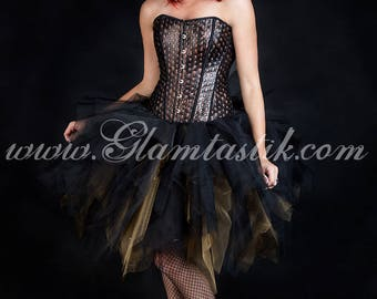Custom Size Bronze and black skulls and tulle burlesque prom dress witch costume S-XL