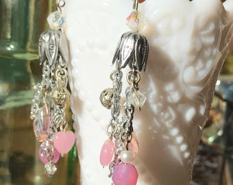 Boho style pink chandelier earrings with vintage re-purposed bead caps, crystals, pressed glass leaves, hearts, pearls