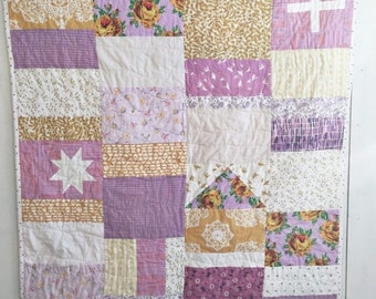 ON SALE Lavender Lemonade - Patchwork Baby Quilt, Modern Baby Quilt, Crib Quilt, Patchwork Quilt, Modern Nursery
