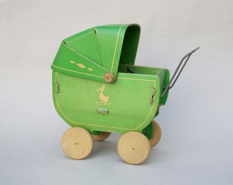 Vintage Antique Doll Carriage . Cardboard . Dolls . 1930's . Wood Wheels . Antique Carriage .