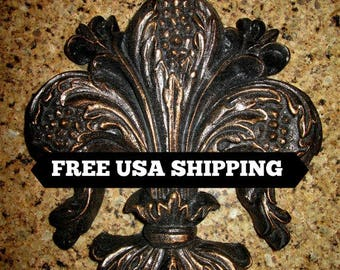 Fleur de Lis Wall plaque - FREE USA SHIPPING - Old World, Tuscan, French Country, Medieval Home Decor