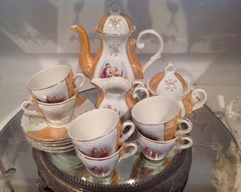 Victorian Tea Set ~ Vintage Tea Pot Coffee Pot ~ Creamer and Sugar ~ Musical Tea Pot ~ Tea Parties ~ Demitasse Cups and Saucers ~ Couple