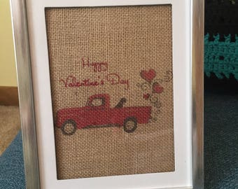 Red truck on burlap for Valentine's Day