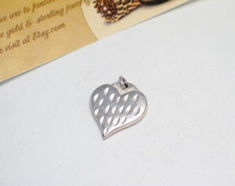 2 Sterling Silver Puffy heart pendant charm 4 bracelet necklace love friendship theme fine jewelry