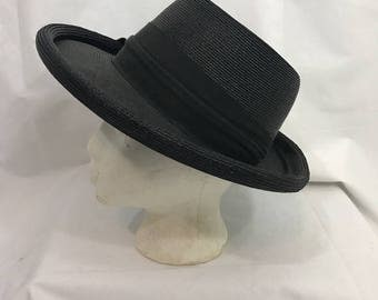 Vintage Black Round Straw Hat