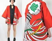 25% off Summer SALE Vintage Kimono Chinese Robe Cotton Kimono Red Kimono Graphic Lantern Novelty Print Asian Robe Cropped Unisex Short Dress