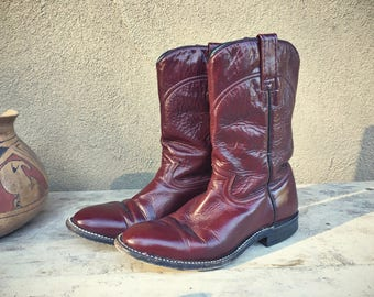 Vintage cowboy boots Men's Size 5.5 / Women's 6.5 to 7 cowgirl boots oxblood brown leather