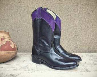 Vintage black purple cowboy boots Women size 8 M (run small) Laredo cowgirl boots