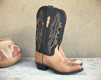 Vintage Lucchese Women's Size 7.5 (fits like Size 7) cowgirl boots two tone brown leather cowboy boots