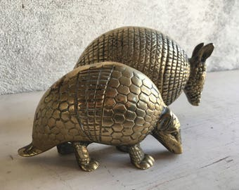 Two Brass Armadillo Statues, Brass Decor, Library Decor, Hollywood Regency, Gold Armadillo