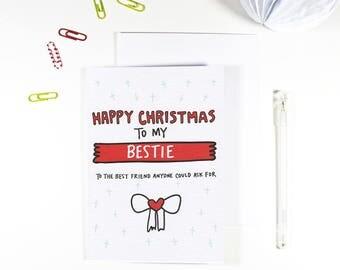 Happy Christmas Bestie Christmas Card for Bestie