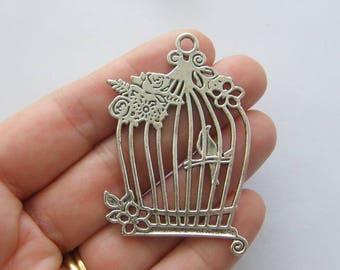 1 Bird cage pendant antique silver tone B73