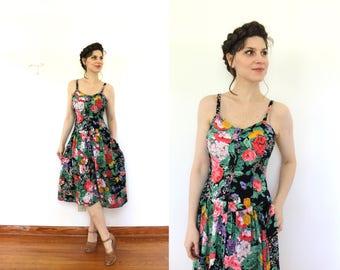 Dark Floral Dress / 1980s Dress / 80s Dress / 1980s Black Rayon Floral 1950s Style Dress