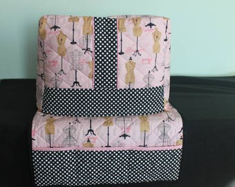 Dot+mat) Sewing Machine Cover and / or  Mat in Pink maneiquin fabric